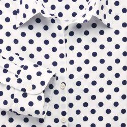 Женская рубашка белая в темно-синий горошек Charles Tyrwhitt приталенная Fitted (WE077NWT)