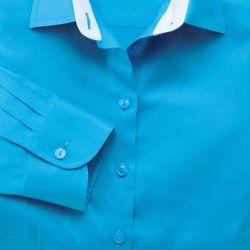 Женская рубашка синяя Charles Tyrwhitt не мнущаяся Non-Iron приталенная Fitted (WR053BLU)
