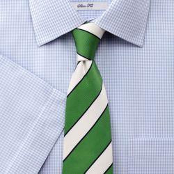 Мужская рубашка c коротким рукавом белая в мелкую синюю клетку Charles Tyrwhitt не мнущаяся Non-Iron приталенная Slim Fit